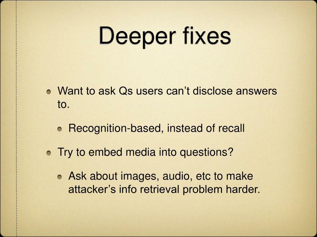 Deeper fixes