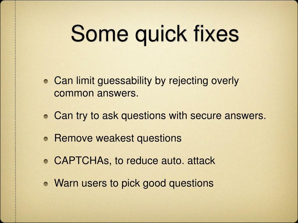 Some quick fixes