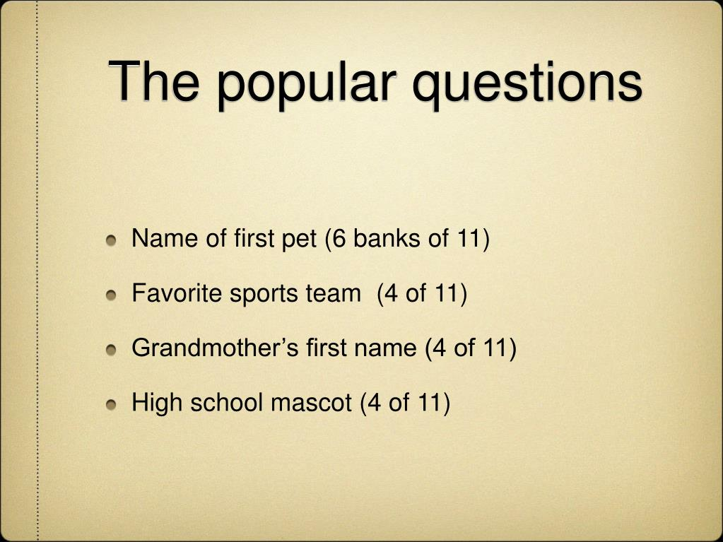 The popular questions