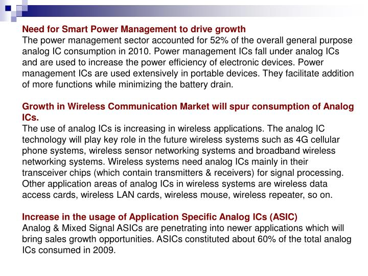 Need for Smart Power Management to drive growth