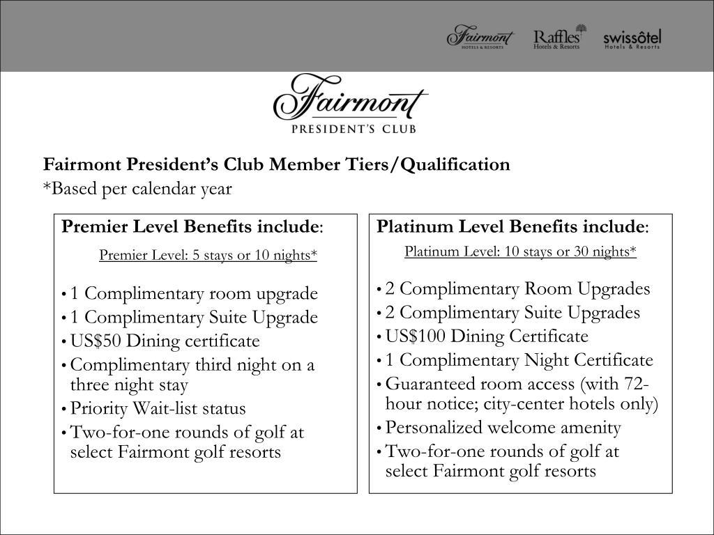 Premier Level Benefits include