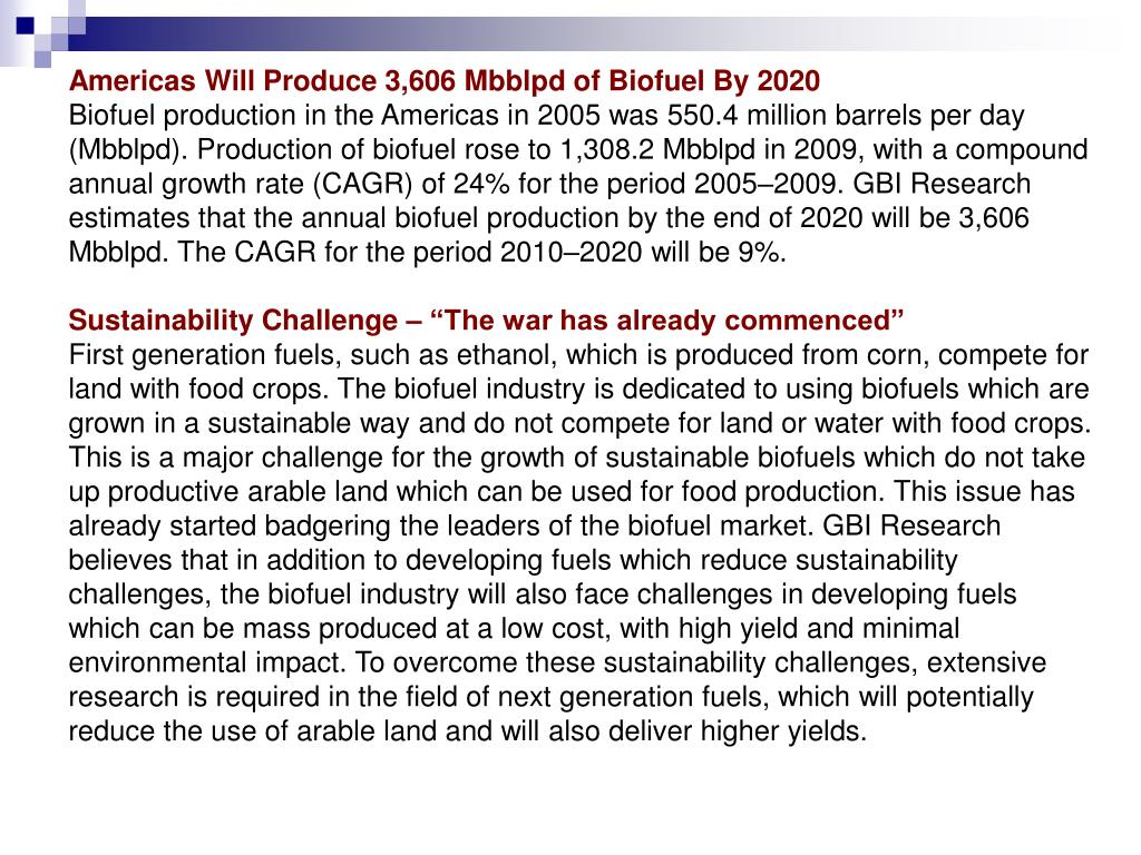 Americas Will Produce 3,606 Mbblpd of Biofuel By 2020