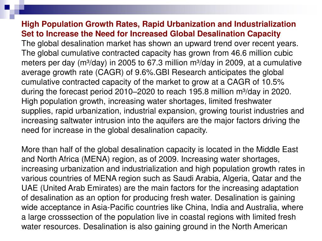 High Population Growth Rates, Rapid Urbanization and Industrialization Set to Increase the Need for Increased Global Desalination Capacity