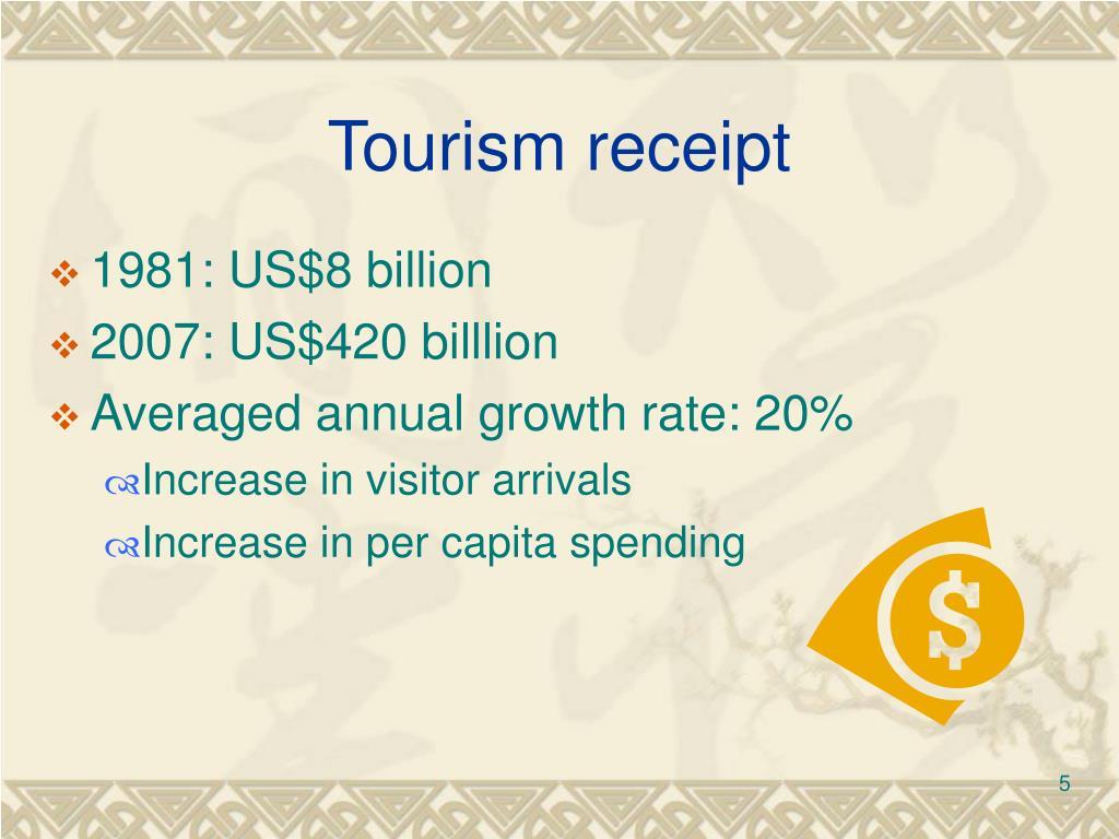 Tourism receipt