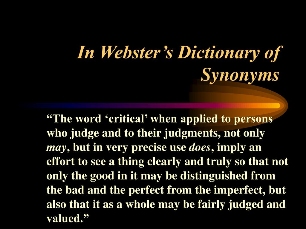 Webster dictionary define critical thinking