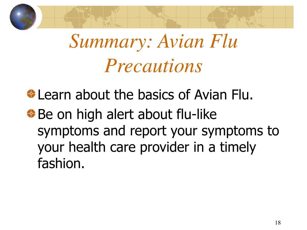 Summary: Avian Flu Precautions