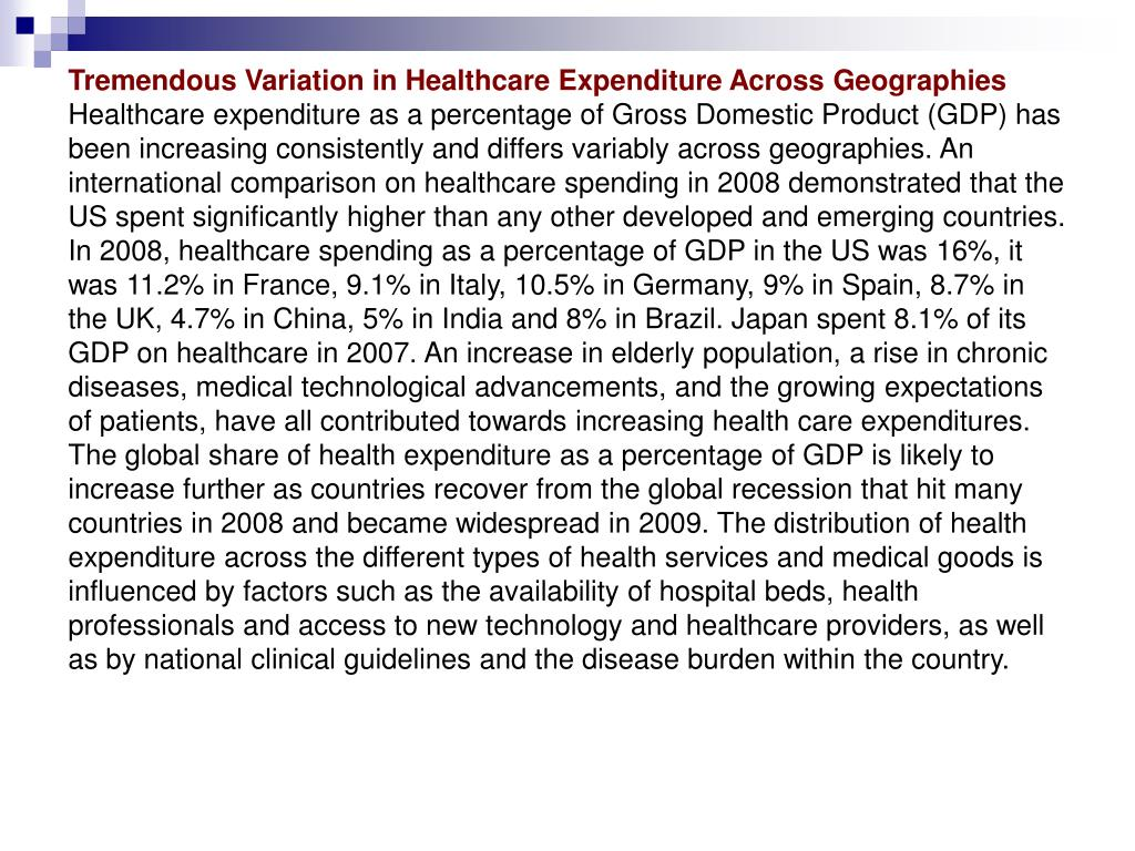 Tremendous Variation in Healthcare Expenditure Across Geographies