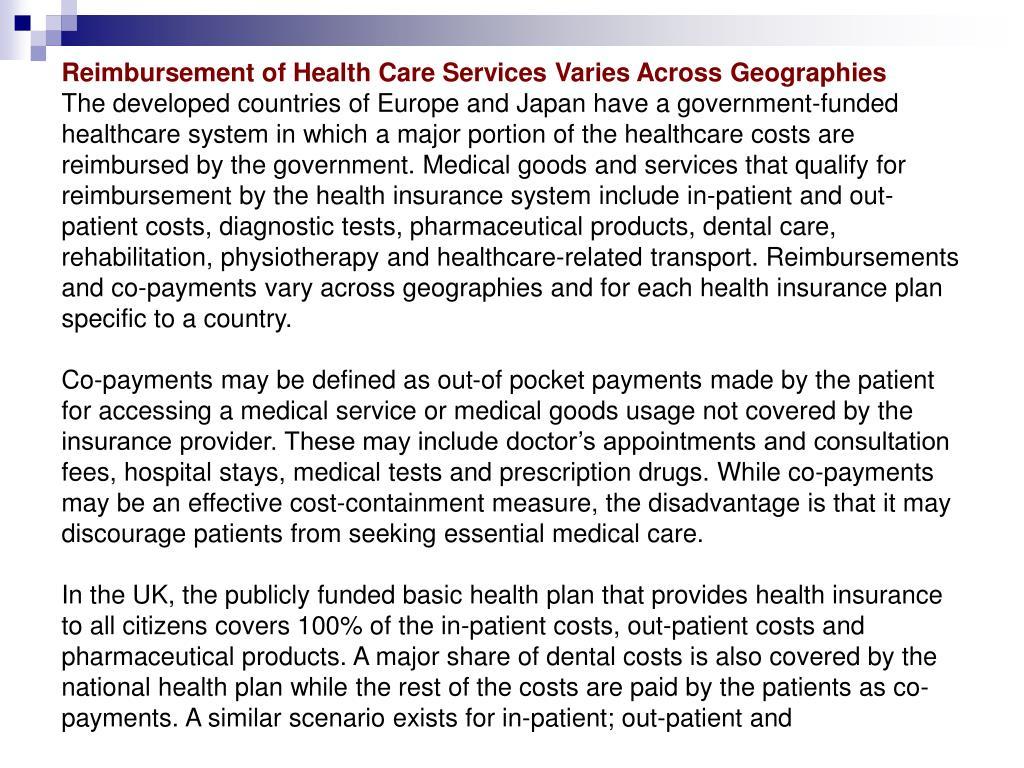Reimbursement of Health Care Services Varies Across Geographies