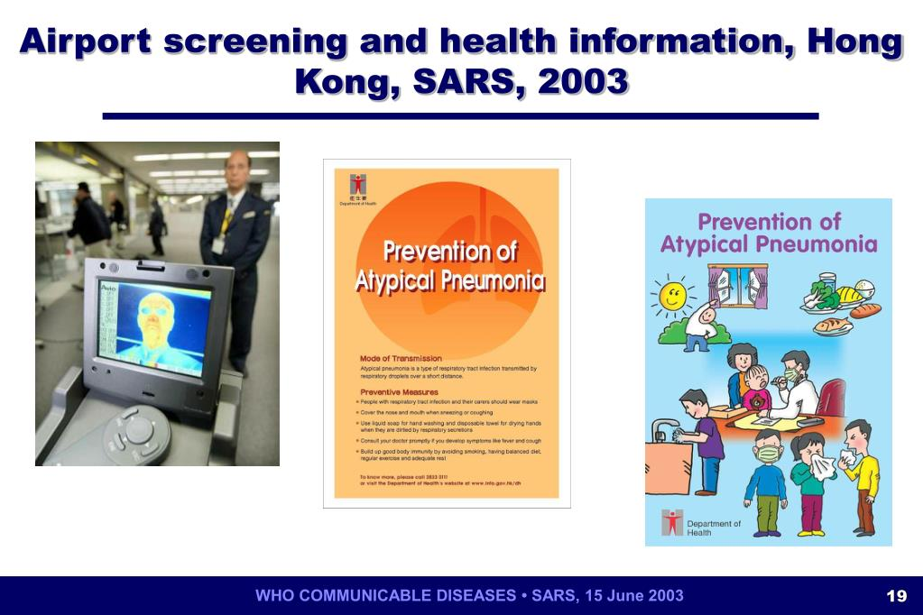 Airport screening and health information, Hong Kong, SARS, 2003