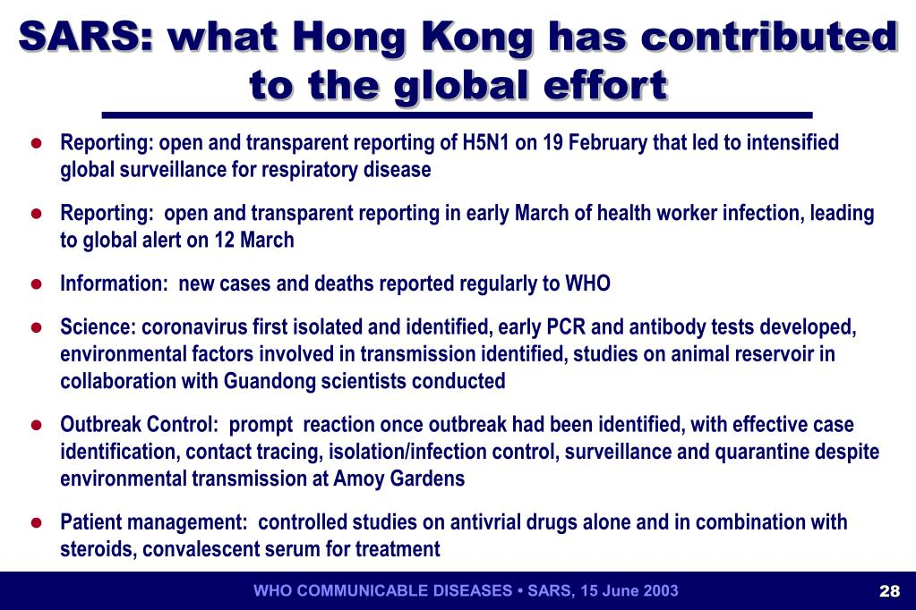 SARS: what Hong Kong has contributed to the global effort