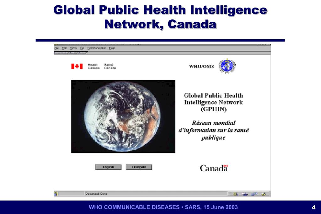 Global Public Health Intelligence Network, Canada