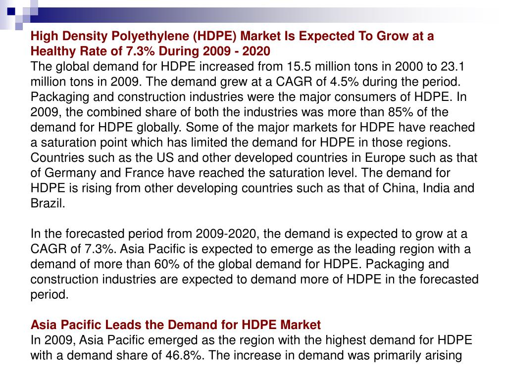 High Density Polyethylene (HDPE) Market Is Expected To Grow at a Healthy Rate of 7.3% During 2009 - 2020