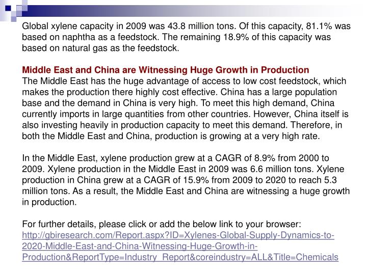 Global xylene capacity in 2009 was 43.8 million tons. Of this capacity, 81.1% was based on naphtha a...