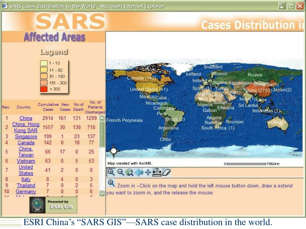 "ESRI China's ""SARS GIS""—SARS case distribution in the world."