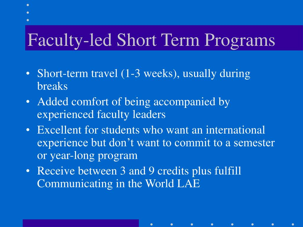 Faculty-led Short Term Programs