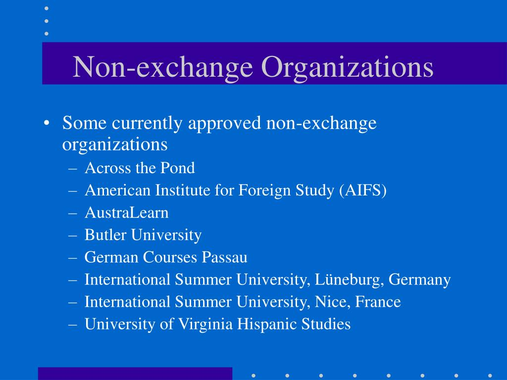 Non-exchange Organizations