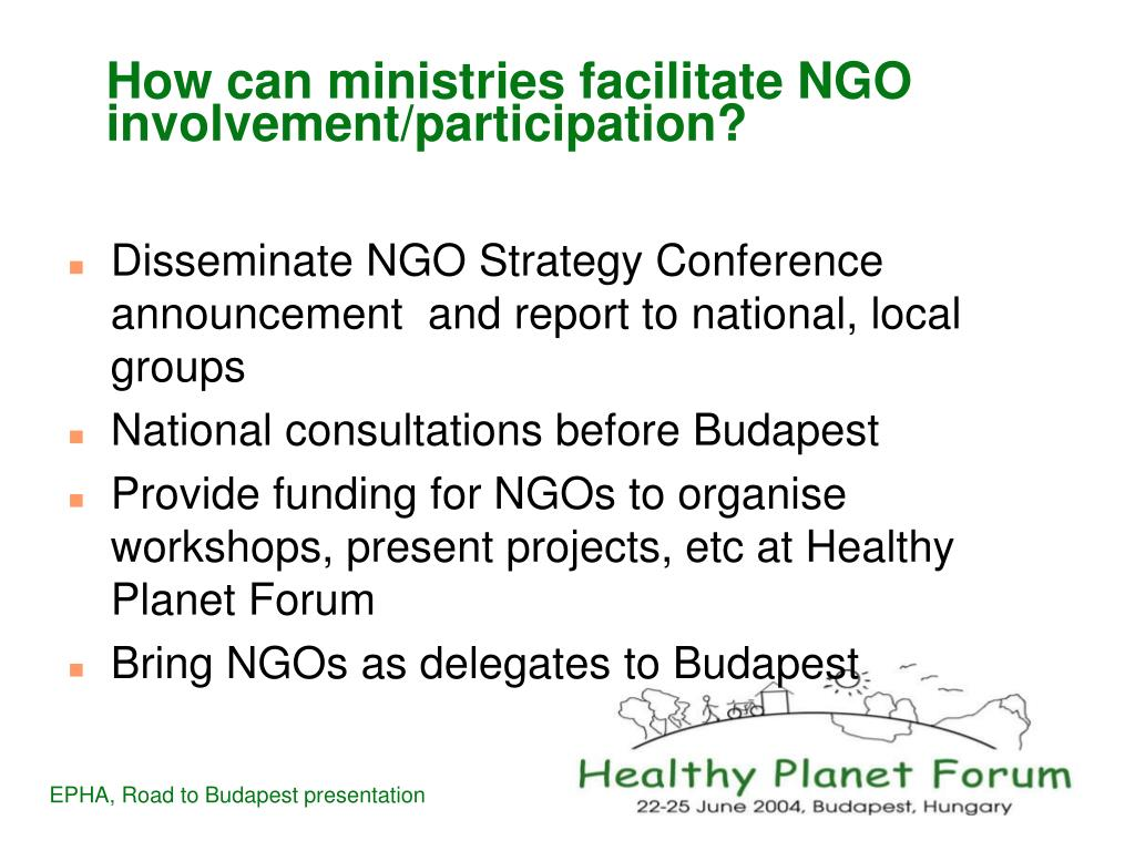 How can ministries facilitate NGO involvement/participation?