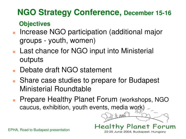 Ngo strategy conference december 15 16 objectives