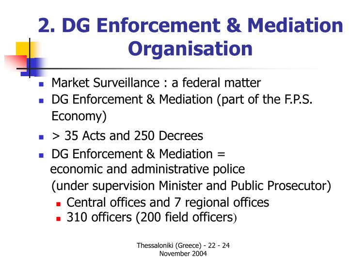2 dg enforcement mediation organisation