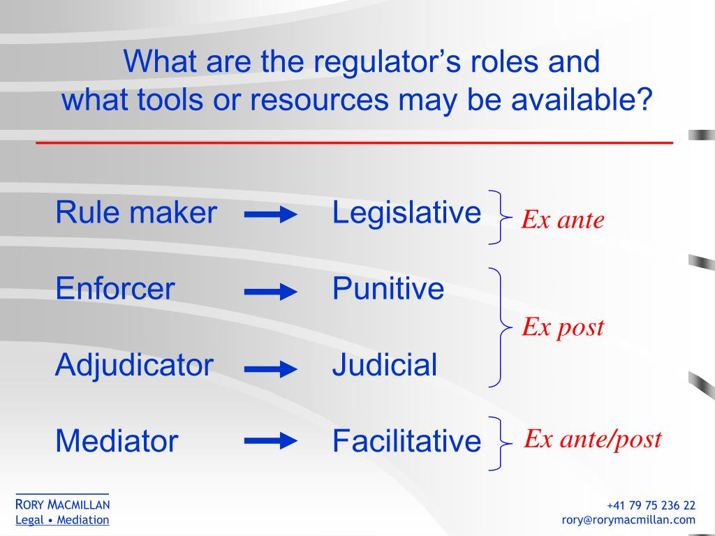 What are the regulator's roles and