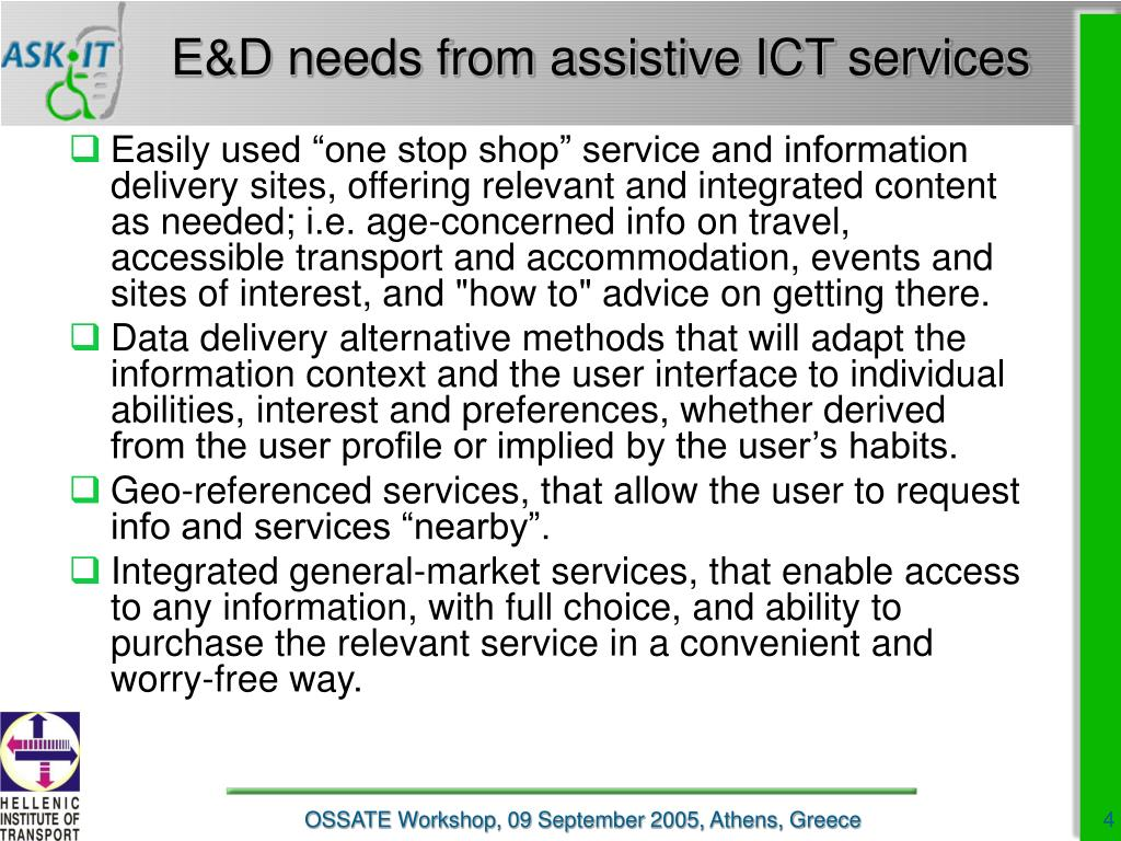 E&D needs from assistive ICT services