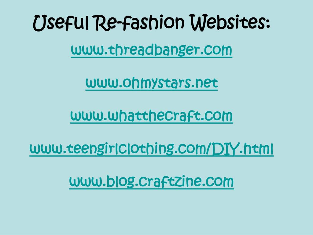 Useful Re-fashion Websites: