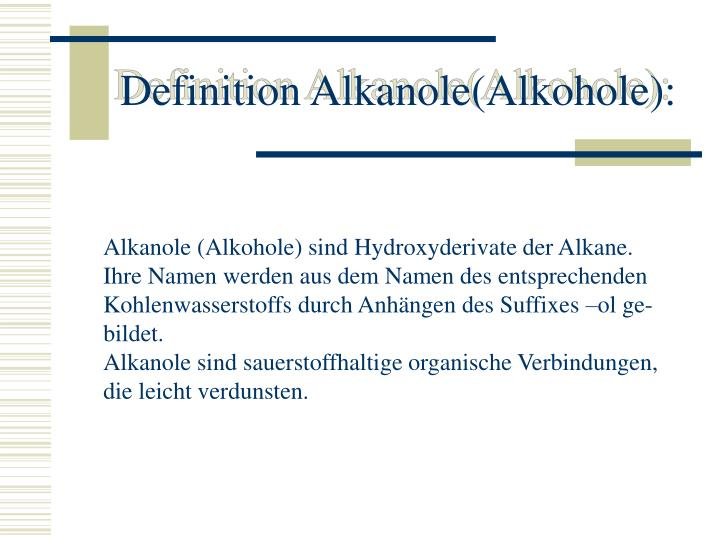 Definition alkanole alkohole