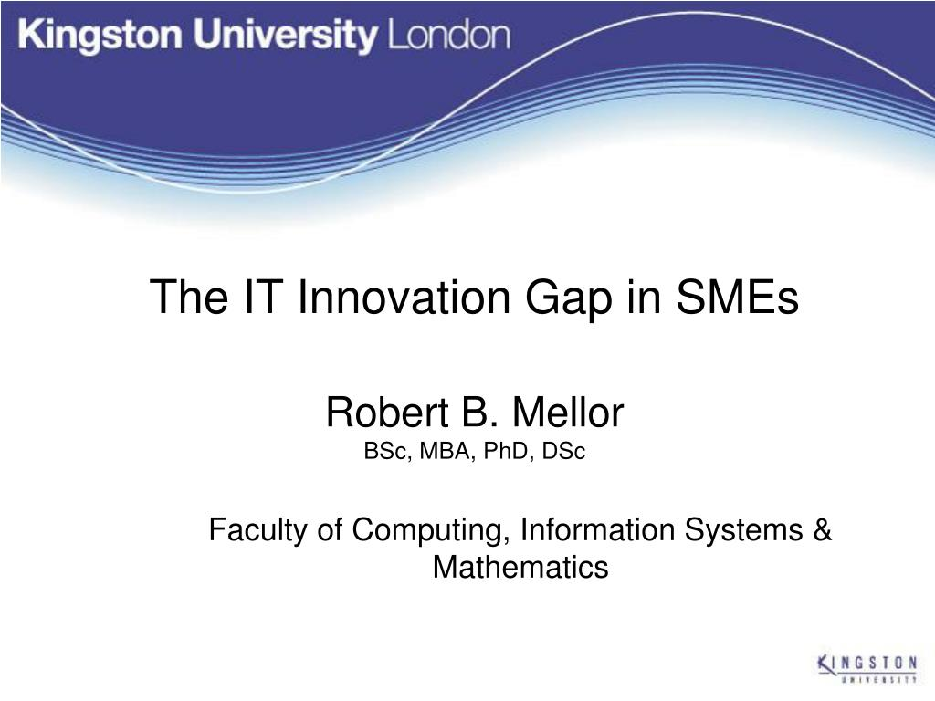 the it innovation gap in smes robert b mellor bsc mba phd dsc