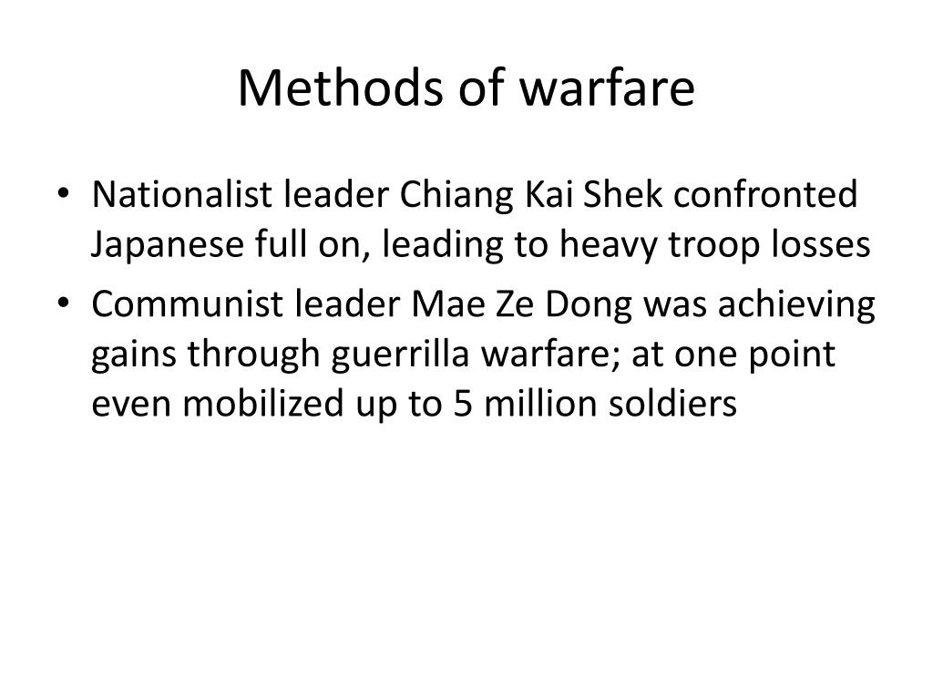 Methods of warfare