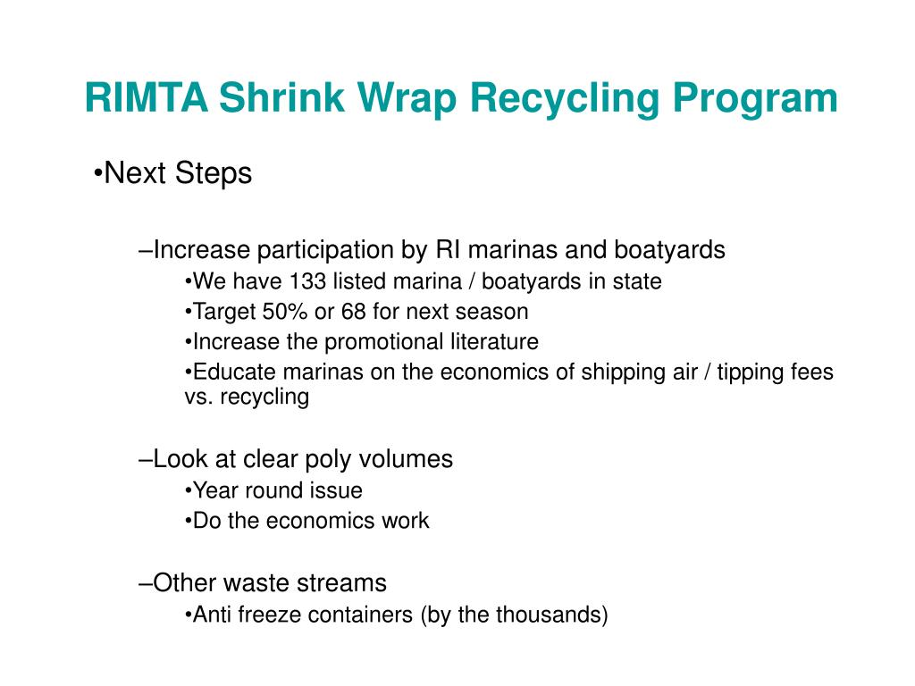 RIMTA Shrink Wrap Recycling Program
