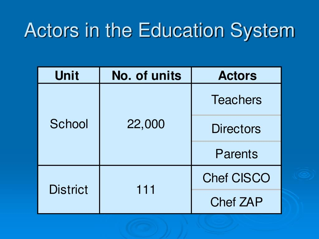 Actors in the Education System