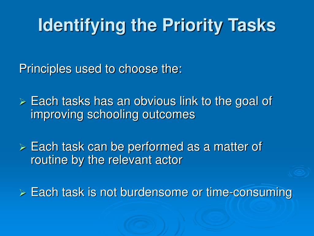 Identifying the Priority Tasks