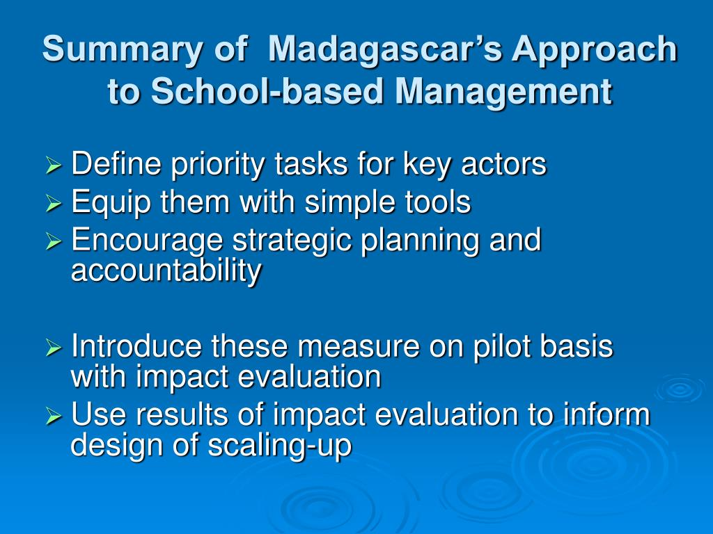 Summary of  Madagascar's Approach to School-based Management