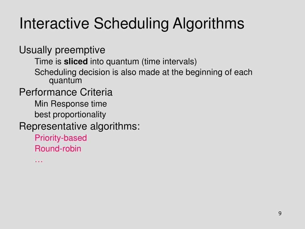 Interactive Scheduling Algorithms
