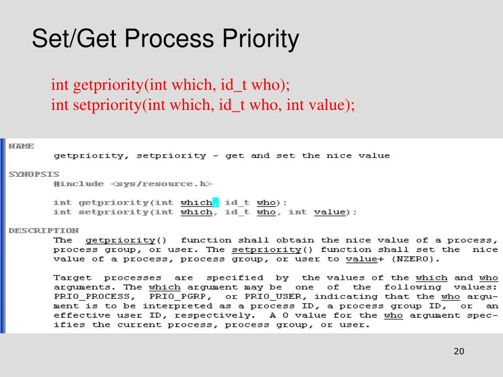 Set/Get Process Priority