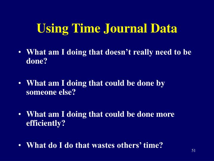 Using Time Journal Data