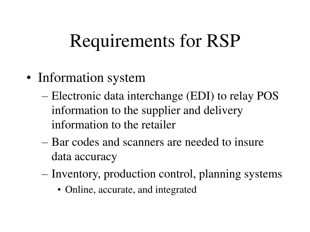 Requirements for RSP