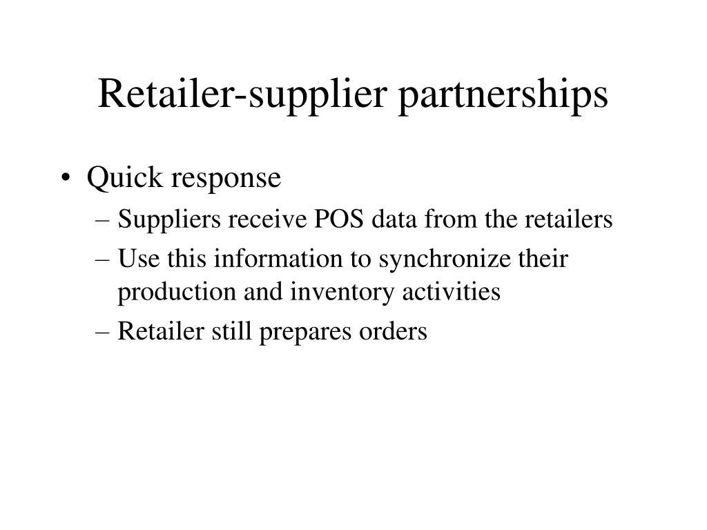 Retailer-supplier partnerships