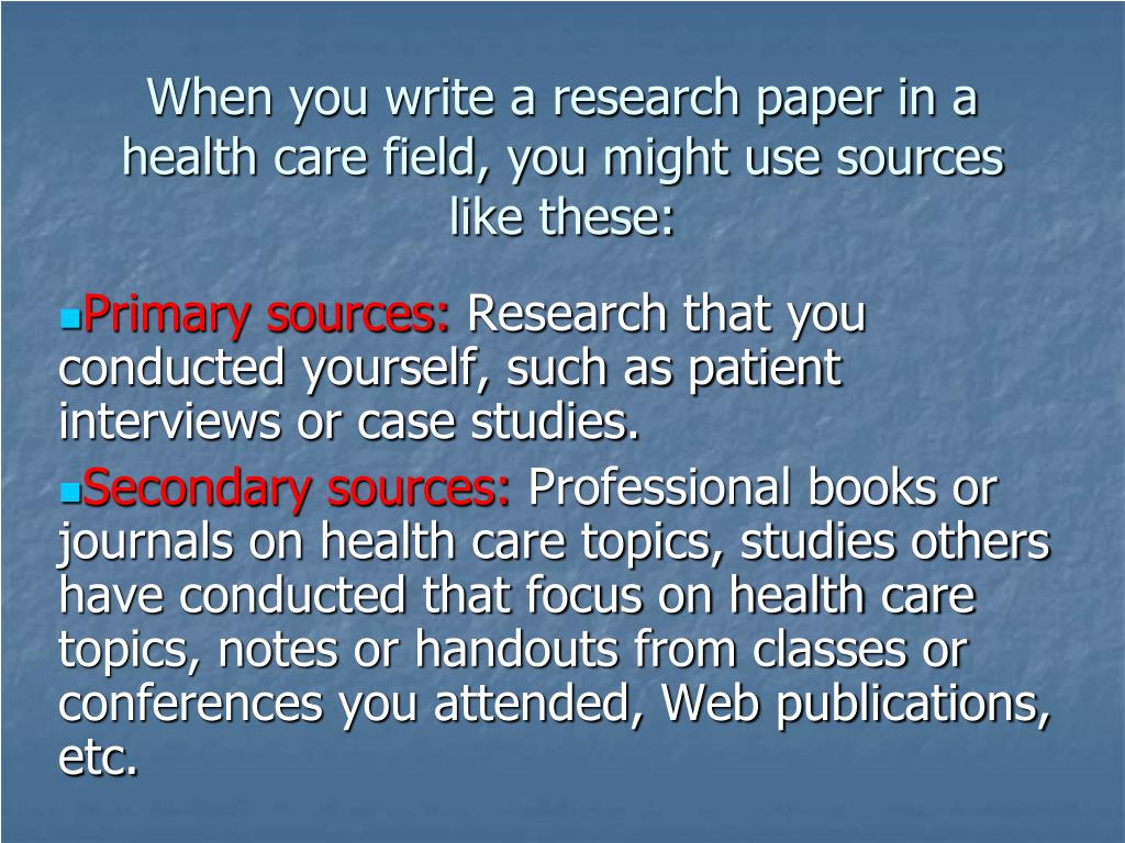 Research paper on health care