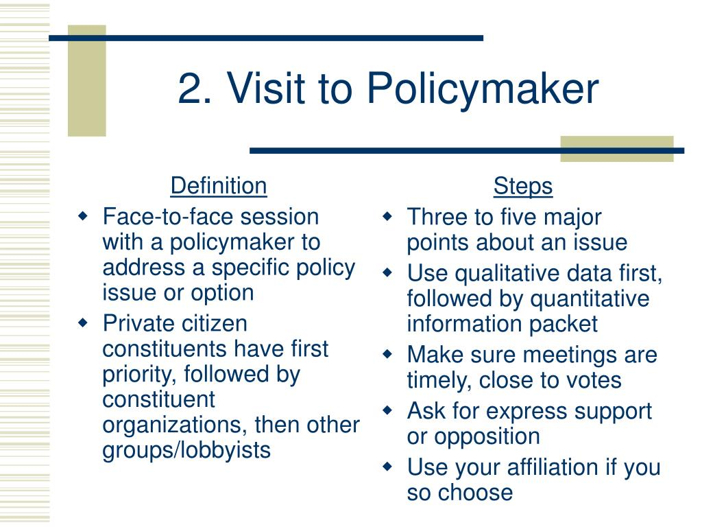 2. Visit to Policymaker