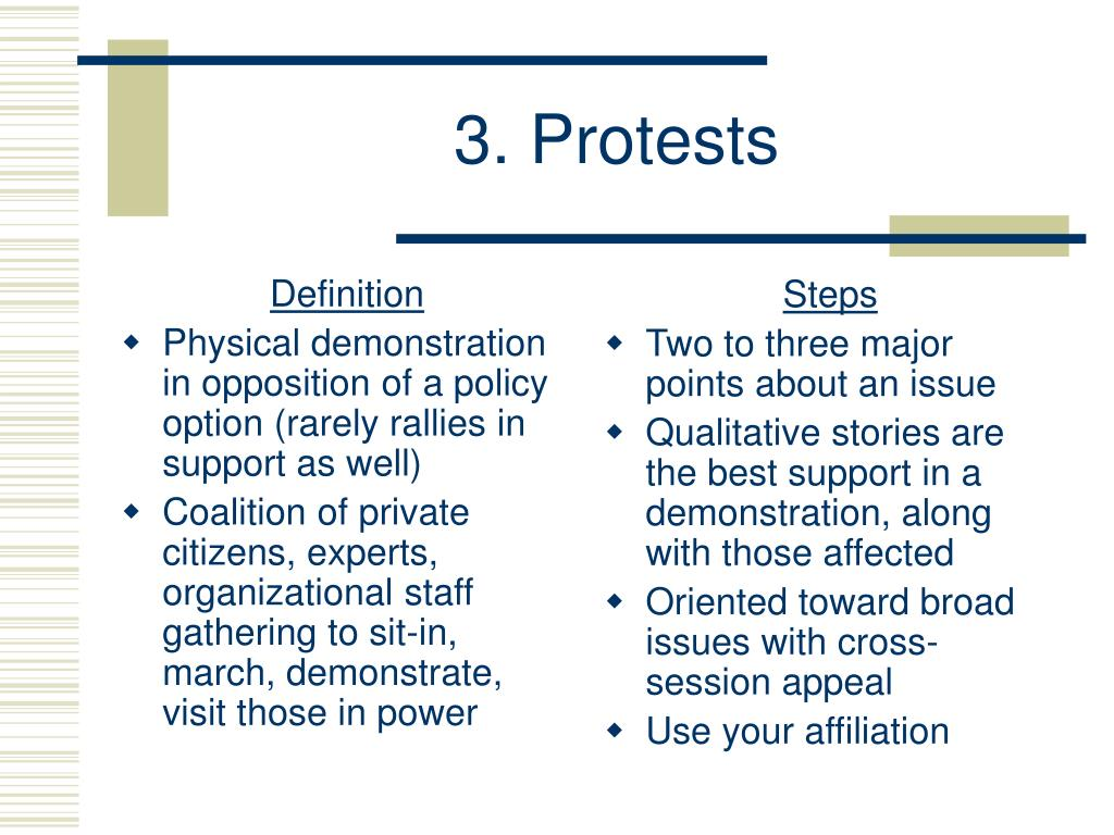 3. Protests