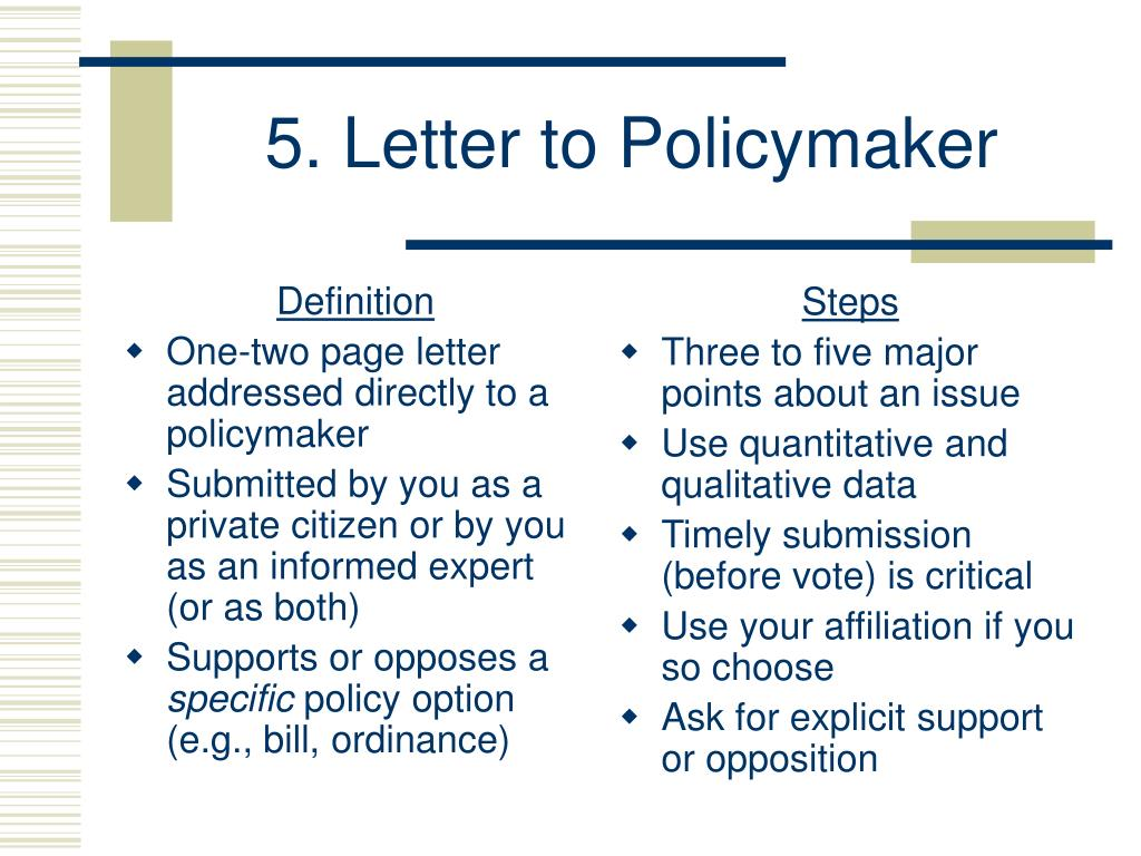 5. Letter to Policymaker