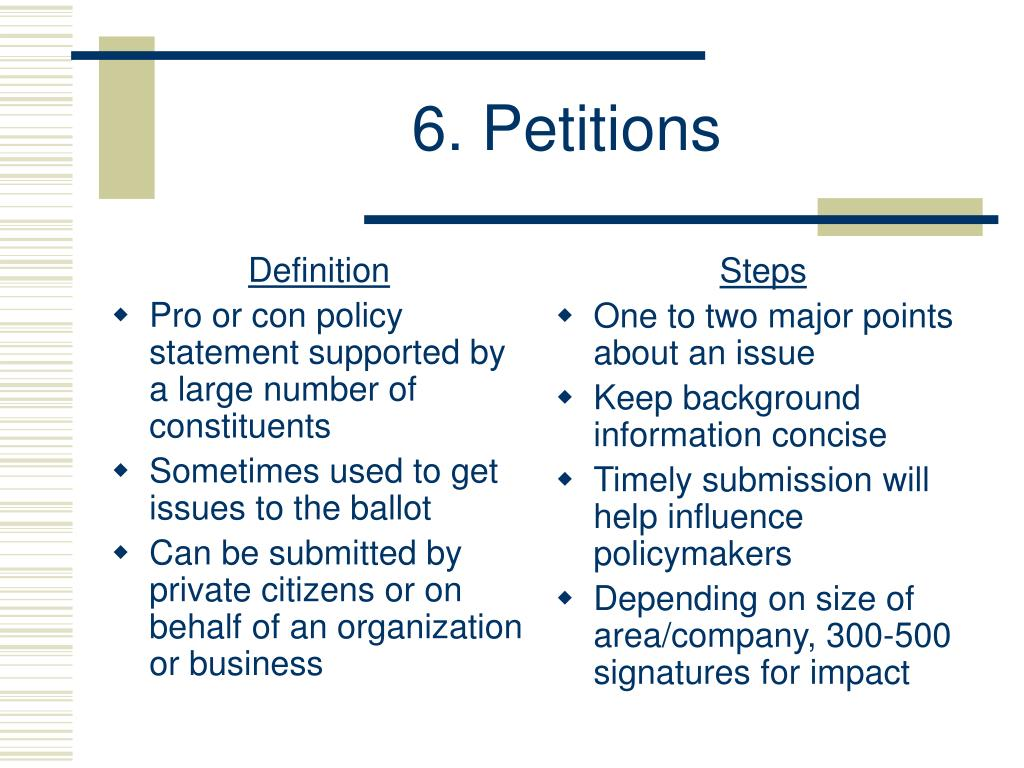 6. Petitions