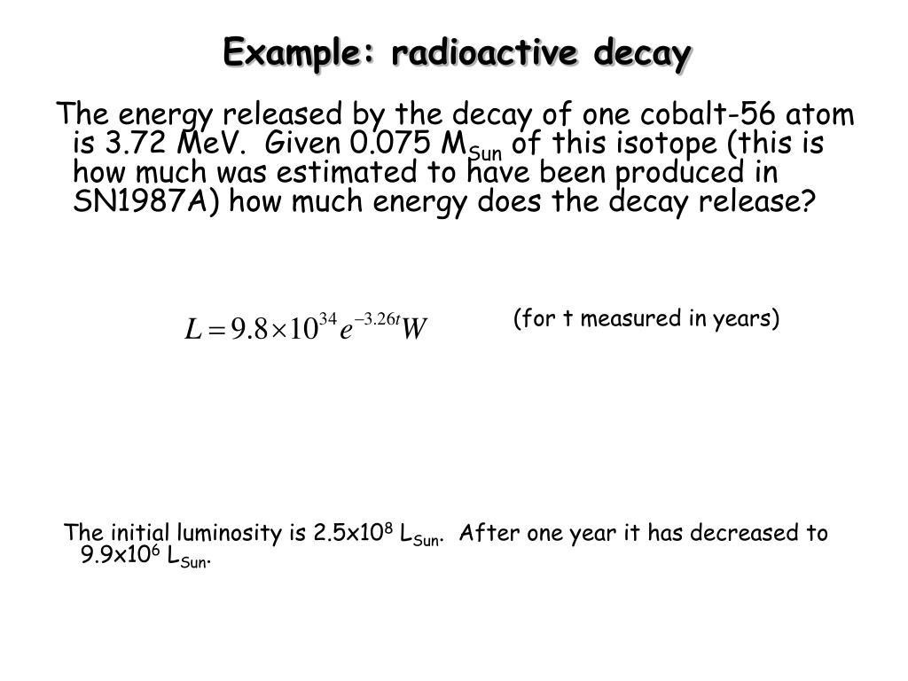 Example: radioactive decay