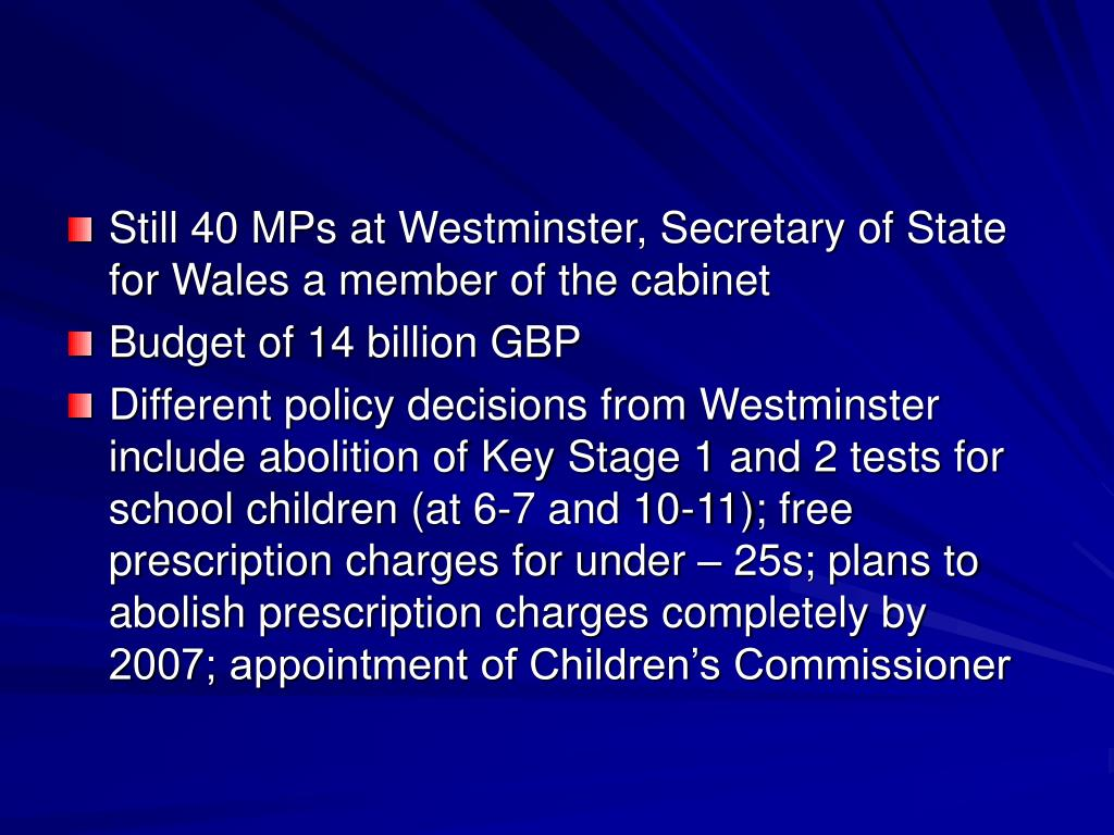 Still 40 MPs at Westminster, Secretary of State for Wales a member of the cabinet