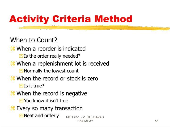 Activity Criteria Method