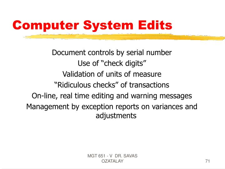 Computer System Edits