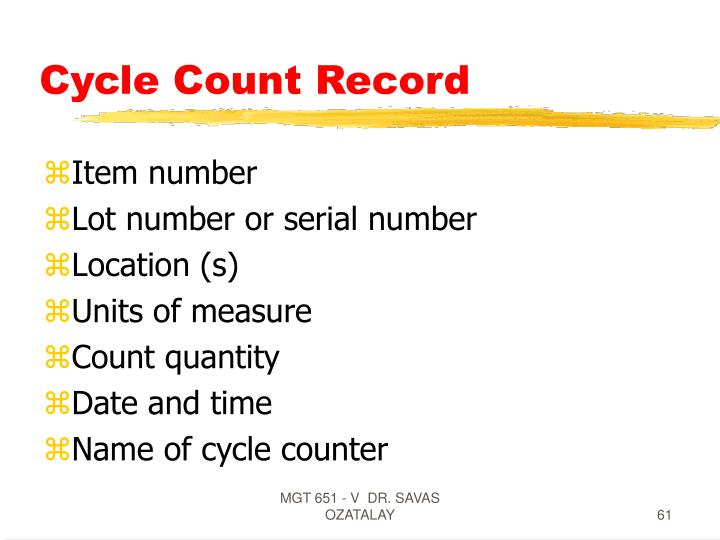 Cycle Count Record