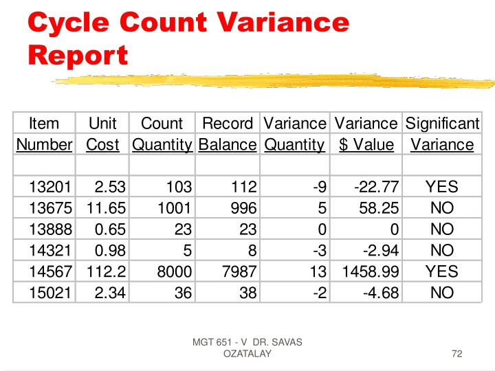 Cycle Count Variance Report