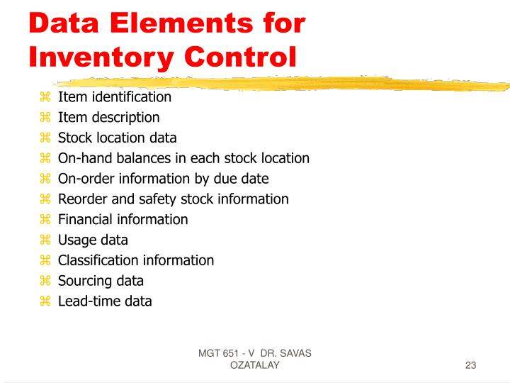 Data Elements for Inventory Control